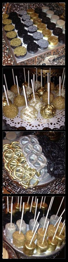 Edible Gold Spray: Chocolate Covered Oreos Chocolate Covered Pretzels Chocolate Covered Marshmallows Cake Pops Gold Dusted.  Glammy & yummy. Black & Gold Glam Gala Halloween Party Decorating & Menu Ideas