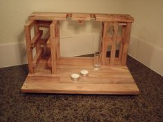 Our wine and cheese party for 2, includes wine rack for 2 wine bottles, 2 glass holders, cheese cutting board, and napkin holder all made from upcycled solid pecan flooring remnants. This is a unique and original design by Habit Shmabit, handmade in Texas one at a time...this item is not mass produced. Each Wine and cheese for 2 is an original, and this one is ready to ship. No more waiting.    Our Wine and cheese for 2 is the perfect solution for evenings on the back deck or on the couch…