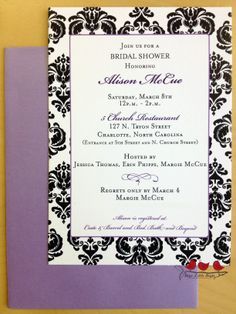 An elegant bridal shower invitation with a clean purple border, and a vintage background.  We matched it with a purple envelope to bring out the purple border. www.threelittlebirdsinc.com