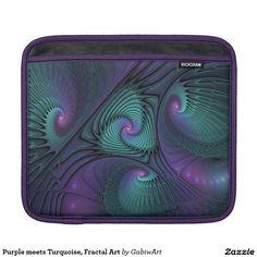 Purple meets Turquoise, Fractal Art iPad Sleeve