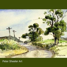 Rural sketch of a country road. Finally getting nicer weather for traveling these interesting back roads. #landscape #art  #original #watercolor #winsorandnewton #watercolour #painting #paintingaday #penandink #waterbrush #urbansketch #urbansketchers #urb