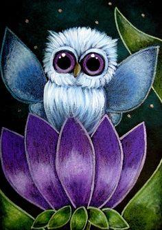 Detail Image for art TINY BLUE FAIRY OWL - PURPLE FLOWER