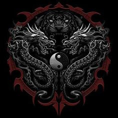 Asian Tatuagem T-shirt Tiger Dragões Ying Yang Tee Yin Yang Tattoos, Tatuajes Yin Yang, Dragon Tattoo Art, Dragon Artwork, Dragon Tattoo Designs, Dragon Yin Yang Tattoo, Asian Dragon Tattoo, Arte Yin Yang, Yin Yang Art