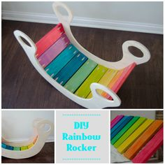 Make a rainbow rocker for the babies. They will have a rockin' good time on this toy! Here's what you'll need to DIY your own version: •1-2′ x 4′ x 1/2″ sheet birch plywood @ $15.47 •12′ of 1″ x 4″ @ $1.12/LF = $13.44 •1″ Kreg pocket hole screws (100 ct.) @ $3.87 •2 boxes food coloring @ $3.48 ea = $6.96 •1 bottle isopropyl alcohol @ $2.29