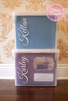 File boxes for school papers and memories.