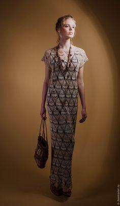 Купить Вязаное крючком платье Кахолонг - бежевое платье, платье летнее, платье в пол