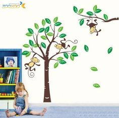 Nursery Wall Decals: Toprate (TM) Large Size Funny Monkey Forest Green Gig Tree Vinly PVC Home Decal Decor Wall Sticker Removable Wall Decal For Nursery Boys and Girls Children's Bedroom from Toprate(TM). ............ Get Wall Decals at Amazon from Wall Decals Quotes Store