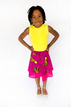 ebbfb5742 Ankara Girls Tank Dress. Soft Cotton bodice with pink and yellow African  print skirt. African flower girl dress