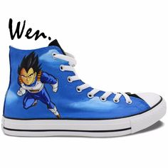 63.48$  Watch now - http://alimud.worldwells.pw/go.php?t=32655080896 - Wen Blue Hand Painted Shoes Anime Dragon Ball Z Vageta Goku High Top Men Women's Canvas Sneakers Christmas Gifts for Boys 63.48$