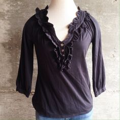 Anthro Leifsdottir top Beautiful black top, takes basic to another level. Excellent condition. Bundle for discount Anthropologie Tops Blouses