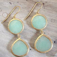 Mint Teardrop Dangle Drop Earrings Bridesmaid Earrings Double Drop Earrings Tommassini drop earrings