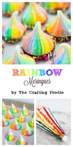 These Rainbow Meringues are light and airy with a crisp exterior and a soft, moist, marshmallow-like interior. To make these Rainbow Meringues … Rainbow Desserts, Rainbow Food, Rainbow Cakes, Rainbow Baking, Rainbow Sweets, Baked Meringue, Meringue Cookies, Meringue Kisses, White Food Coloring