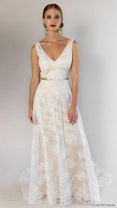 claire pettibone bridal spring 2017 sleeveless straps vneck aline lace wedding dress (palisades) mv romantic
