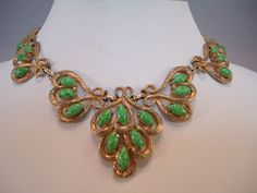 Vintage Schiaparelli Faux Jade Green Marbled Cabochon Necklace Choker Signed | eBay