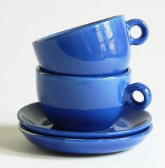 Shiny Cobalt Blue Demitasse Cups and Saucers Pair Ceramic. $12.99, via Etsy.