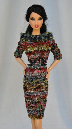 multi-colored textured stretchy dress