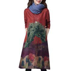 Retro Style Tree Printed Loose Elegant Long Sleeve Vintage Women Dreses
