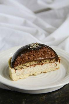 Chocolate & Hazelnut Entremets Chocolate Hazelnut, Hazelnut Praline, Hazelnut Cake, Chocolate Glaze, Melting Chocolate, Entremet Recipe, Tart Crust Recipe, Just Desserts, Dessert Recipes