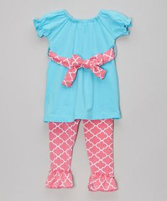 Another great find on #zulily! Pink & Blue Quatrefoil Tunic & Pants - Infant, Toddler & Girls #zulilyfinds