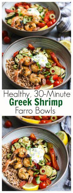 30 Minute Greek Shrimp and Farro Bowls - Mediterranean Cuisine - Greek Recipes Farro Recipes, Shrimp Recipes, Cooking Recipes, Healthy Recipes, Healthy 30 Minute Meals, 30 Minute Dinners, Cabbage Recipes, Healthy Salads, Fish Recipes