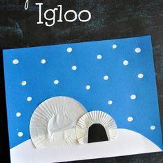 Cupcake Liner Igloo Craft for Kids