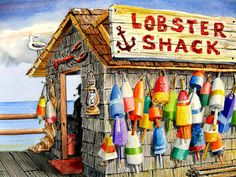 Buoys and the Lobster Shack ... Large 11X14 Watercolor Coastal Beach Decor print by Barry Singer