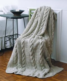 "PROMO 150cm X 190cm  Hand Knit 100% Pure Merino WOOL Cabled Chunky Blanket , Aran Afghan 59"" x 75"" Big size Pure Alpaca Throw , Pure COTTON by PUREWHITEDECO on Etsy"