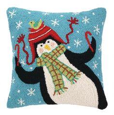 Penguin Candycanes Hook Wool Throw Pillow