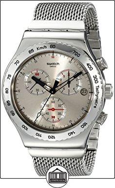 Swatch YVS405G - Reloj cronógrafo de cuarzo para hombre con correa de acero inoxidable, color plateado de  ✿ Relojes para hombre - (Gama media/alta) ✿