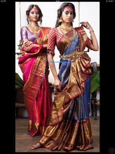 How to Get A Designer Saree Look with a Simple Saree - Saree Styles Half Saree Designs, Fancy Blouse Designs, Saree Blouse Designs, Dhoti Saree, Lehenga Saree Design, Drape Sarees, Silk Kurti, Saree Wearing Styles, Saree Styles