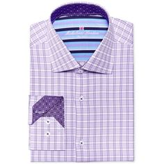 Michelsons of London Men's Slim-Fit Lilac Check Dress Shirt ($75) ❤ liked on Polyvore featuring men's fashion, men's clothing, men's shirts, men's dress shirts, lilac, mens slim fit dress shirts, mens checked dress shirts, mens tailored dress shirts, mens slim shirts and mens dress shirts