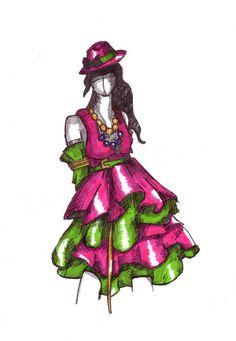 Pink green dress