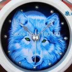 Gorgeous Wolf Clock. Metal bell alarm clock. #clock #alarmclock #wolf #whitewolfwatchshop