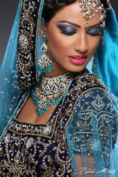 Best Ideas For Indian Bridal Wear Engagement Saris Indian Bridal Makeup, Asian Bridal, Beautiful Bride, Beautiful People, Gorgeous Gorgeous, Beautiful Women, Exotic Beauties, Lehenga Choli, Indian Beauty