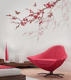 Pochoir Sakura et papillons. Pochoirs par CuttingEdgeStencils