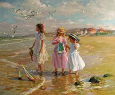 Konstantin Razumov, On The Beach. Artwork that would be nice in the home. Munier, Illustration Art, Illustrations, Russian Art, Beach Scenes, Beautiful Paintings, Strand, Art For Kids, Art Gallery