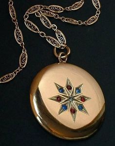 Large Signed Antique Victorian LocketGold Filled Paste Stone Original Gold Inserts & Chain c.1880's