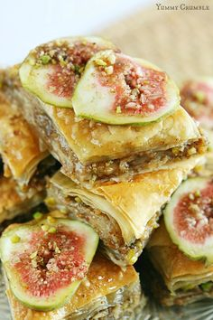 Pear and Fig Baklava. Luscious layers of buttery phyllo dough between layers of pear pistachios and pecans. Baklava was never meant to be boring! Phyllo Dough Recipes, Fig Recipes, Greek Recipes, Dessert Recipes, Cooking Recipes, Jelly Recipes, Recipies, Dried Figs, Fresh Figs