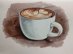 This site contains information about coffee drawing images. Illustration Art Nouveau, Illustration Noel, Watercolor Illustration, Coffee Artwork, Coffee Painting, Watercolor Cards, Watercolor Paintings, Art Tutorial, Food Sketch