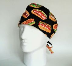 Men's/Unisex Sub Sandwiches on Black Tie Back Surgical Scrub Cap/Cook's Hat by FoodFunScrubHats on Etsy
