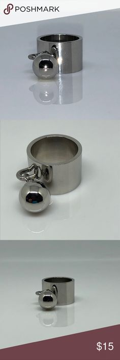 SS Ball Ring. 15mm Height. Ring Size 9 Stainless Steel Ball Ring. 15mm Height. Ball is 12mm Diameter. Stainless Steel is extremely Durable. Ring Size 9 Jewelry Rings