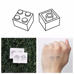LEGO PIECE SHAPES TEMPORARY TATTOO WATERPROOF STICKER ART BODY FAKE UNISEX DIY