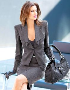 Power suit grey skirt blazer