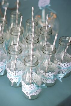 Milk bottles: Cricut cartridge and a little tape