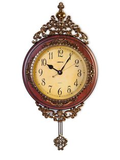 Elegant, Traditional, Decorative, Hand Painted Modern Grandfather Wall Clock W/Swinging Pendulum For New Room or Office. Color Brown and Bronze. Large. 24 Inch. ** Final call for this special discount  : Home Decor Clocks