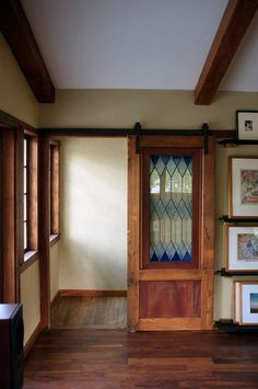 Summilux offers a great tip: Repurpose stained glass and other art glass pieces in places where insulation is not an issue, such as an interior door.