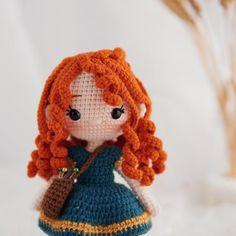 Disney Crochet Patterns, Crochet Disney, Crochet Doll Pattern, Crochet Dolls, Doll Patterns, Cute Crochet, Crochet Crafts, Crochet Projects, Red Hair Princess