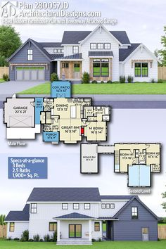 Plan Modern Farmhouse Plan with Breezeway Attached Garage Plan Modern Farmhouse Plan with Breezeway Attached Garage Architectural Designs House Plans archdesigns Farmhouse Home Plans Architectural Designs nbsp hellip Architectural Design House Plans, Architecture Design, Future House, Farmhouse Floor Plans, American Houses, Breezeway, House Layouts, Renting A House, Planer