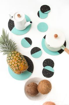 Hot stuff! Abstract #DIY coasters and trivets that mimic the phases of the moon!