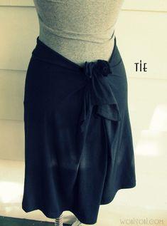 WobiSobi: No Sew, T-Shirt Skirt: DIY  http://wobisobi.blogspot.com/2013/07/no-sew-t-shirt-skirt-diy.html